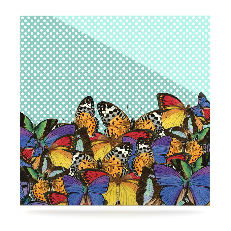 "Suzanne Carter ""Butterfly Polka"" Teal Multicolor Luxe Square Panel - KESS InHouse  - 1"