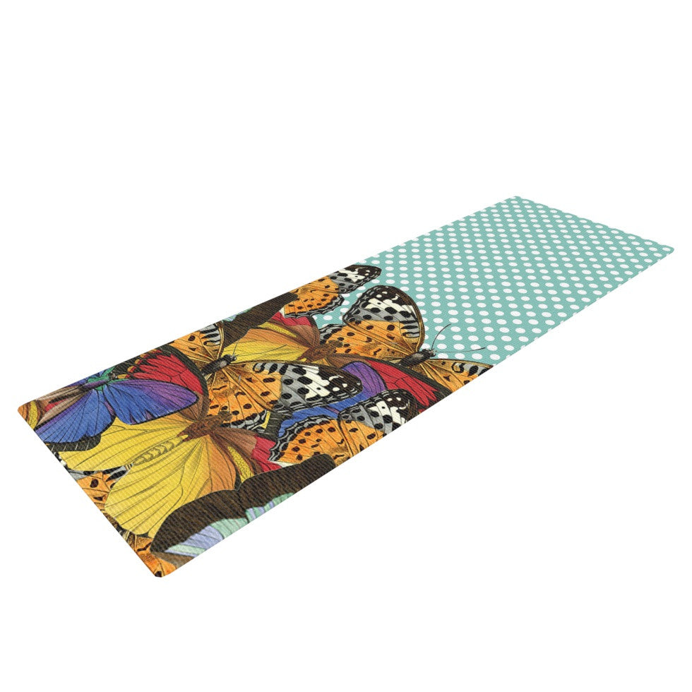 "Suzanne Carter ""Butterfly Polka"" Teal Multicolor Yoga Mat - KESS InHouse  - 1"