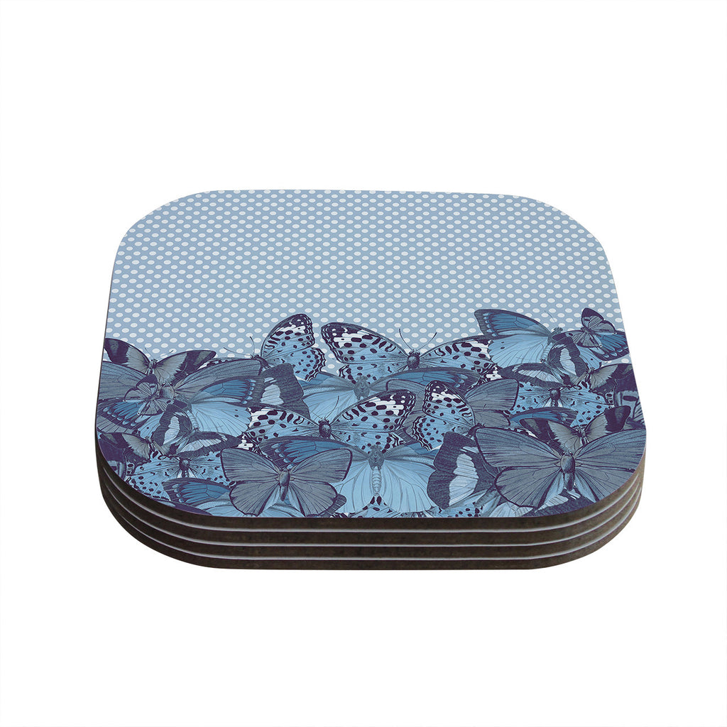 "Suzanne Carter ""Butterfly Blues"" Aqua Coasters (Set of 4)"
