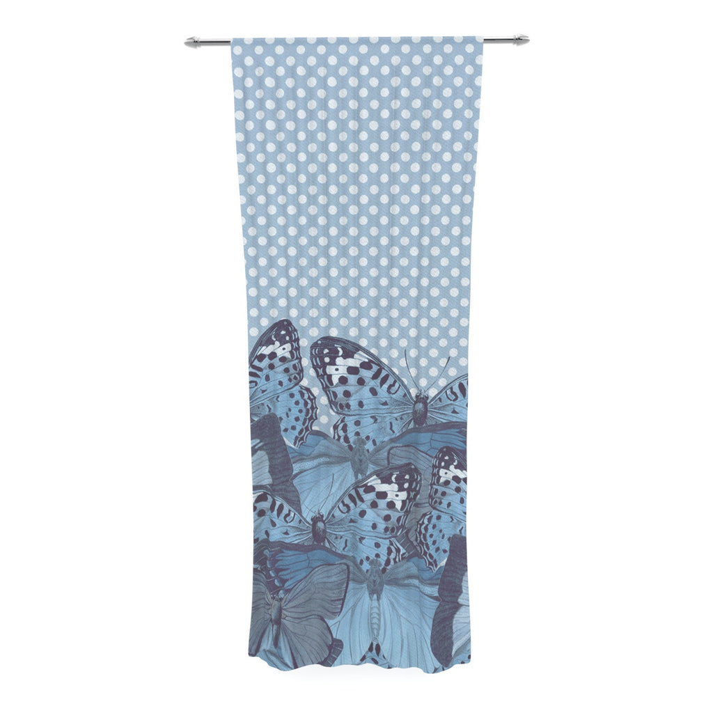 "Suzanne Carter ""Butterfly Blues"" Aqua Decorative Sheer Curtain - KESS InHouse  - 1"