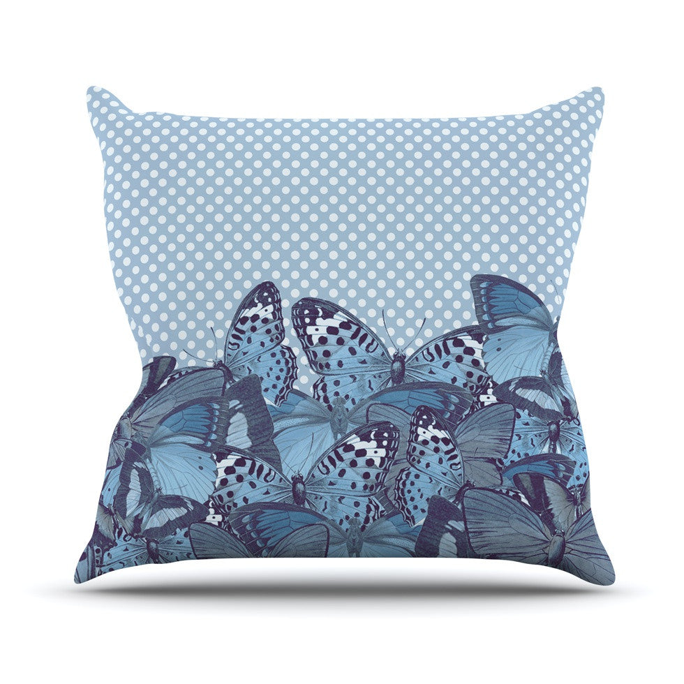 "Suzanne Carter ""Butterfly Blues"" Aqua Throw Pillow - KESS InHouse  - 1"