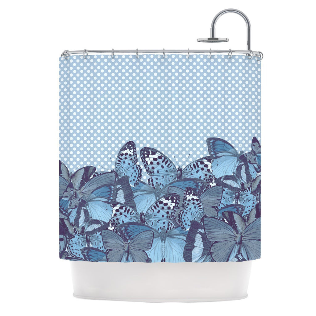 "Suzanne Carter ""Butterfly Blues"" Aqua Shower Curtain - KESS InHouse"