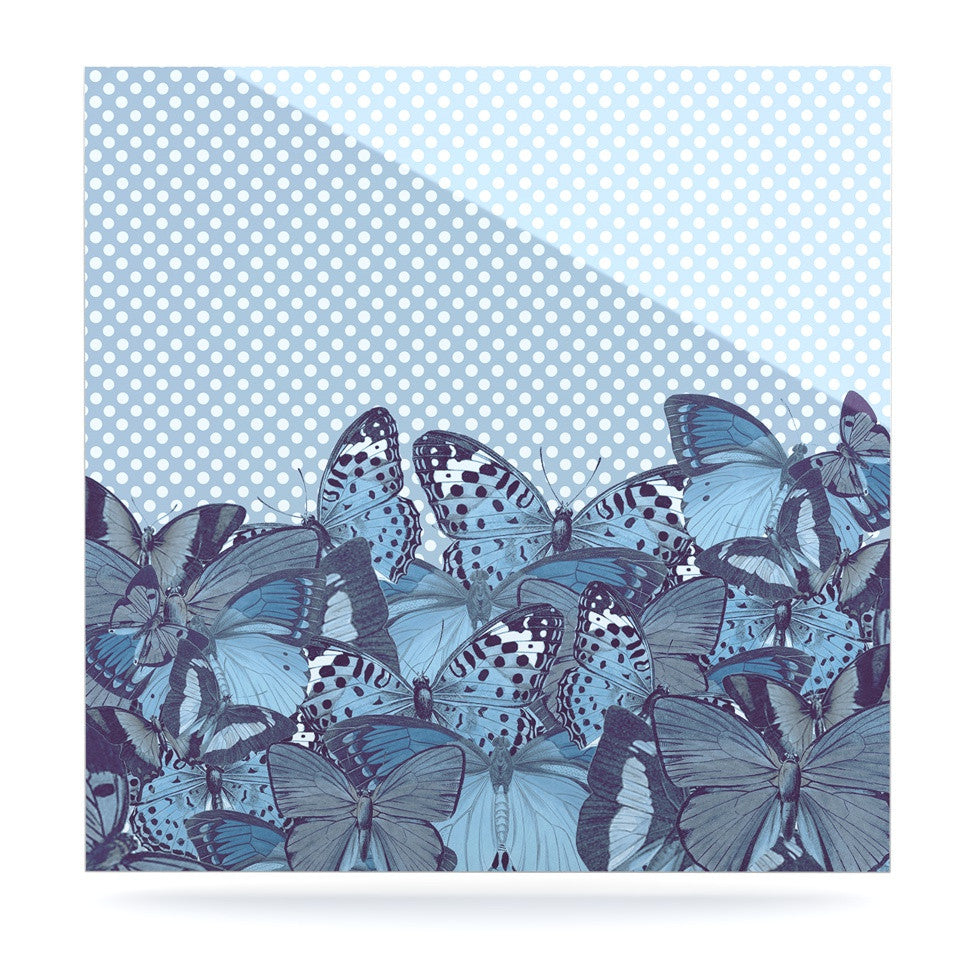 "Suzanne Carter ""Butterfly Blues"" Aqua Luxe Square Panel - KESS InHouse  - 1"
