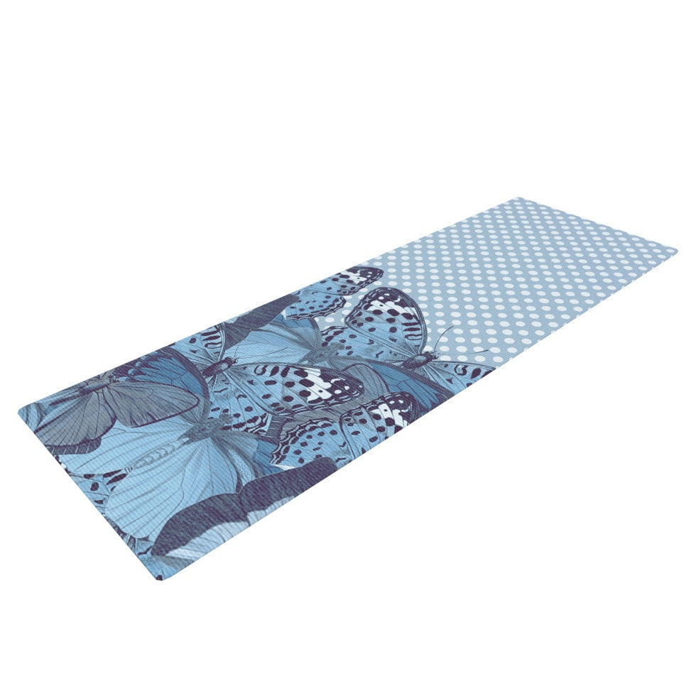 "Suzanne Carter ""Butterfly Blues"" Aqua Yoga Mat - KESS InHouse  - 1"