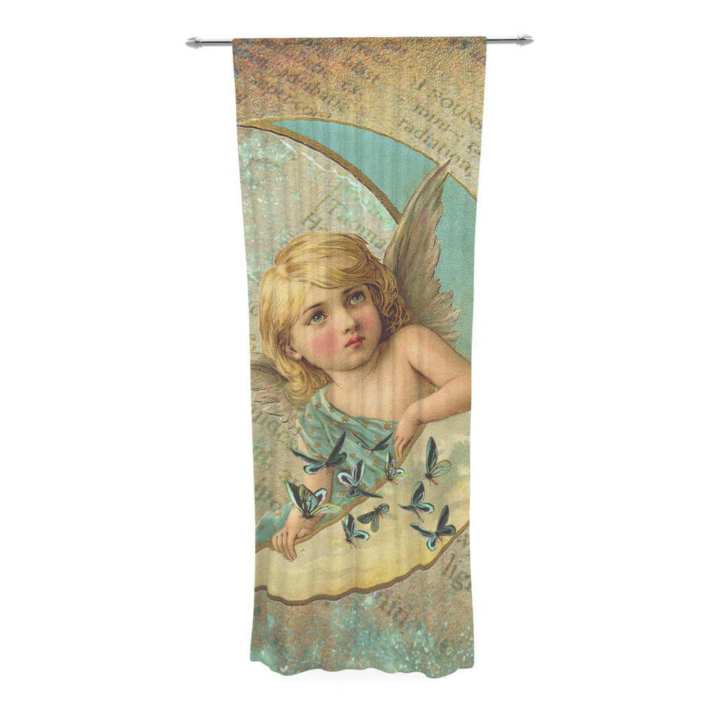 "Suzanne Carter ""Angel"" Teal Yellow Decorative Sheer Curtain - KESS InHouse  - 1"