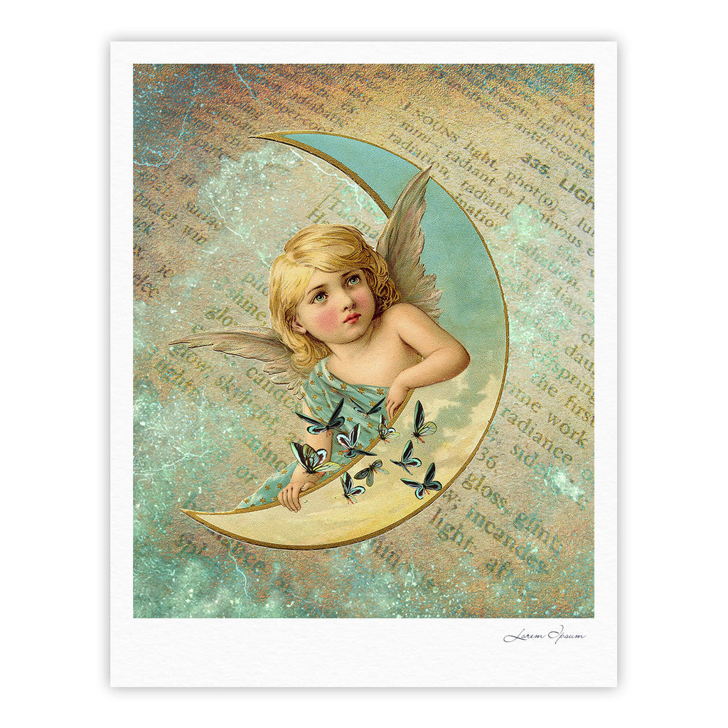 "Suzanne Carter ""Angel"" Teal Yellow Fine Art Gallery Print - KESS InHouse"