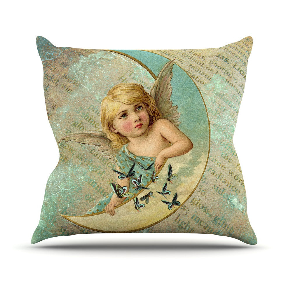 "Suzanne Carter ""Angel"" Teal Yellow Outdoor Throw Pillow - KESS InHouse  - 1"