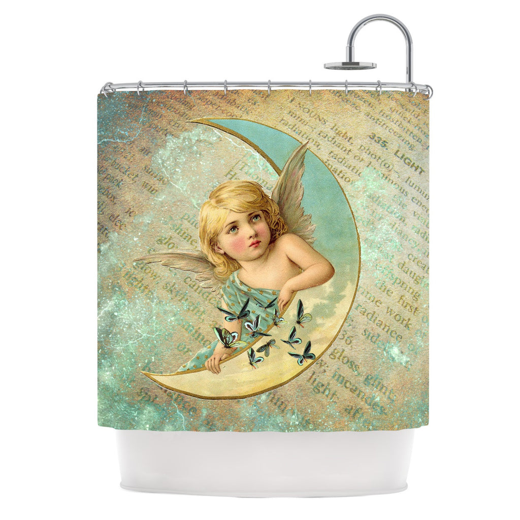 "Suzanne Carter ""Angel"" Teal Yellow Shower Curtain - KESS InHouse"