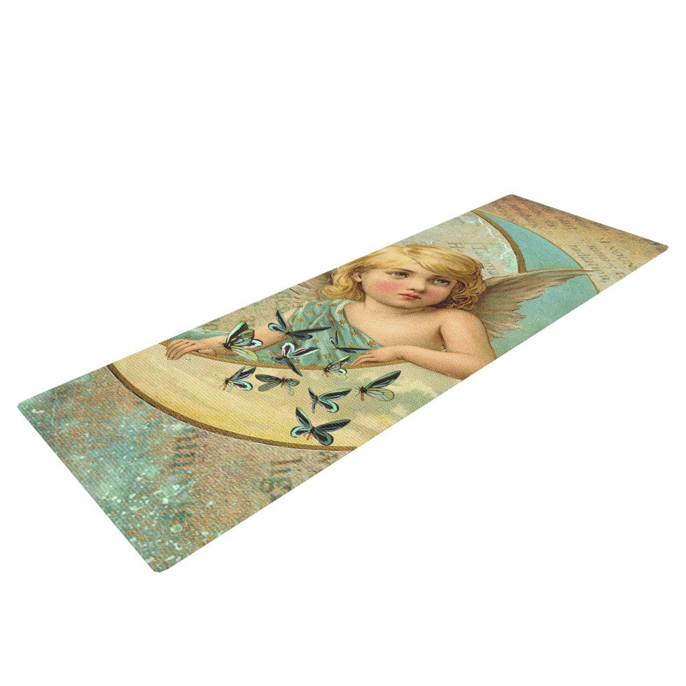 "Suzanne Carter ""Angel"" Teal Yellow Yoga Mat - KESS InHouse  - 1"