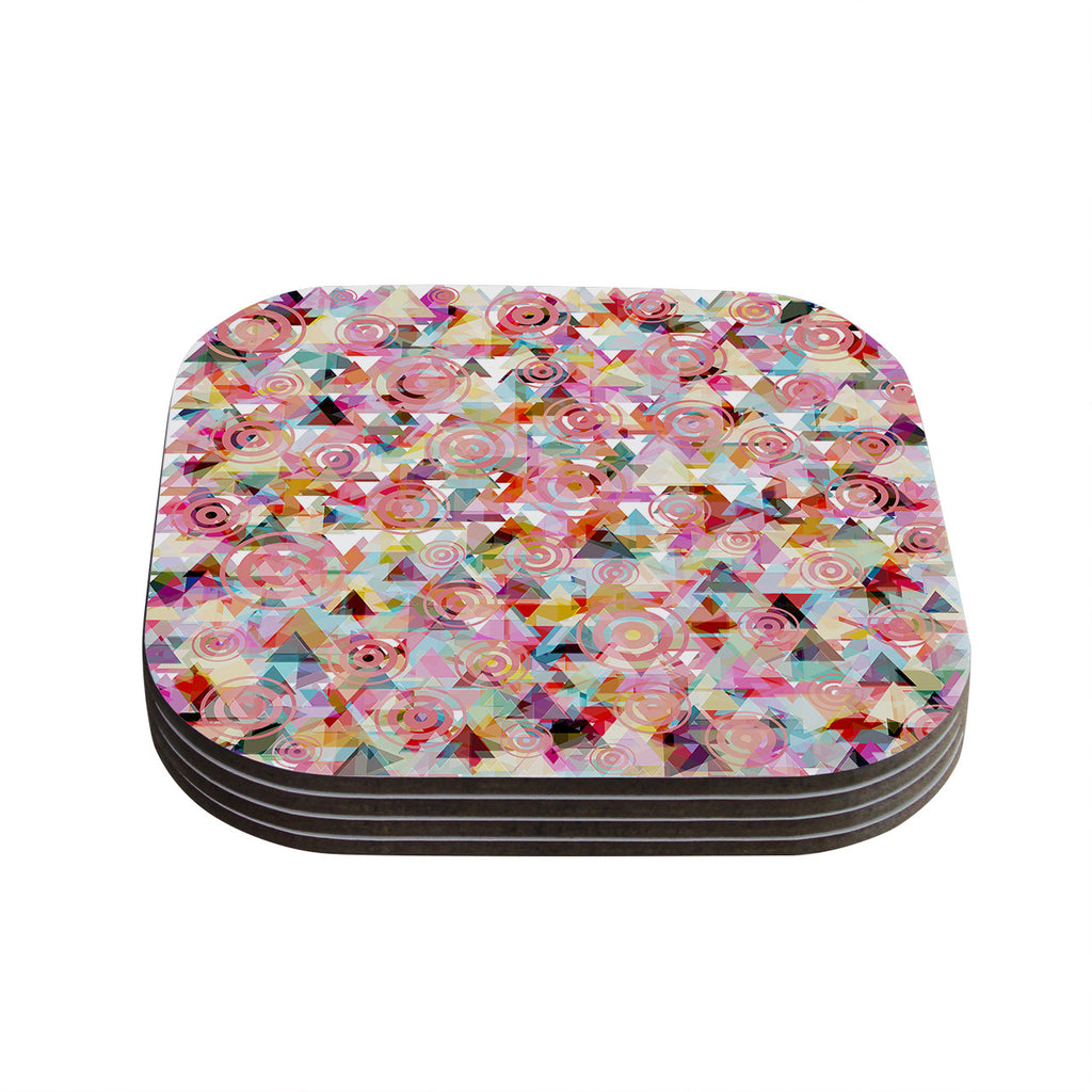 "Suzanne Carter ""Geo"" Pink Multicolor Coasters (Set of 4)"
