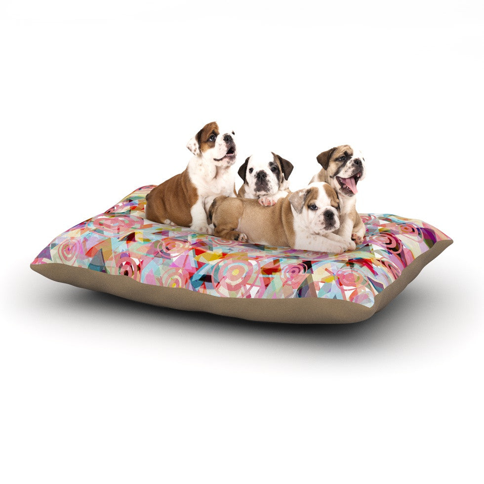 "Suzanne Carter ""Geo"" Pink Multicolor Dog Bed - KESS InHouse  - 1"