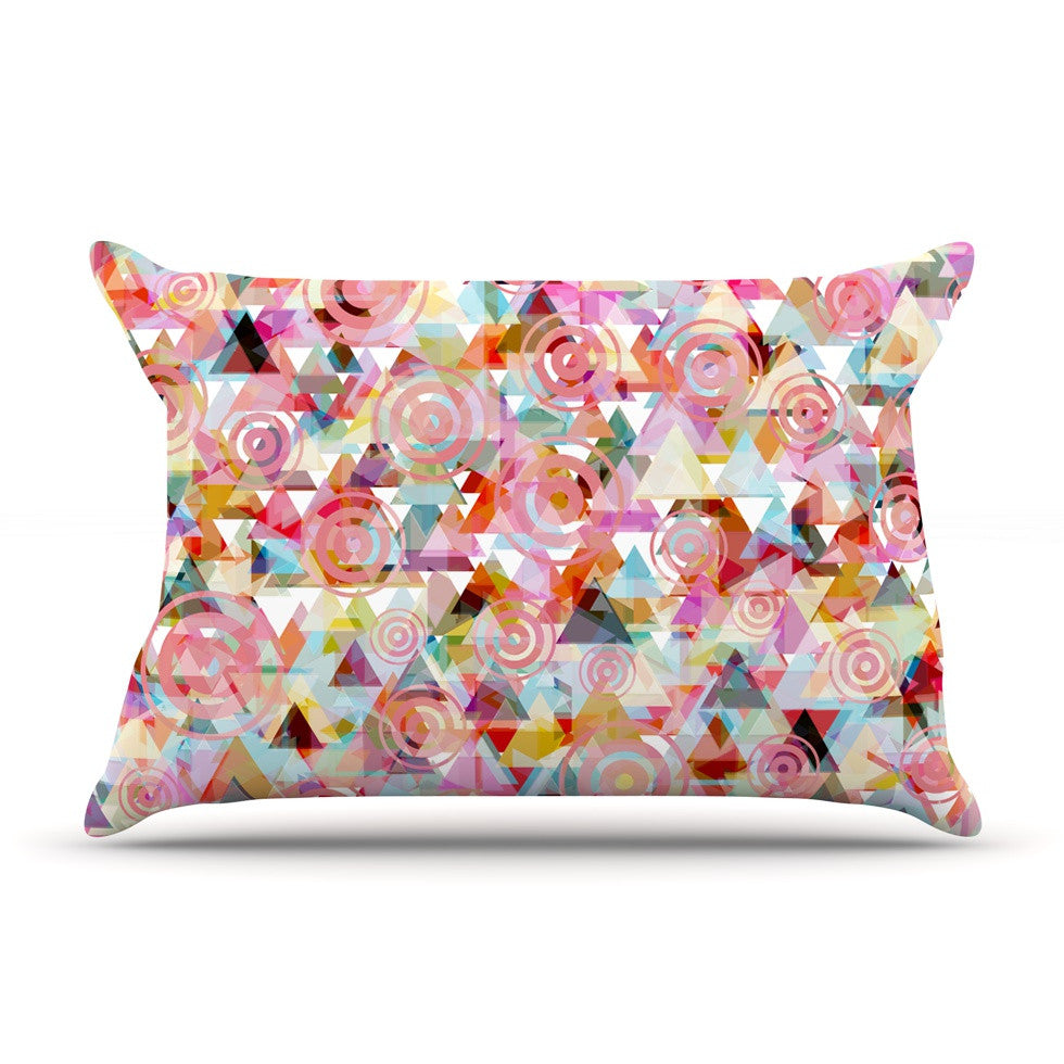 "Suzanne Carter ""Geo"" Pink Multicolor Pillow Sham - KESS InHouse"