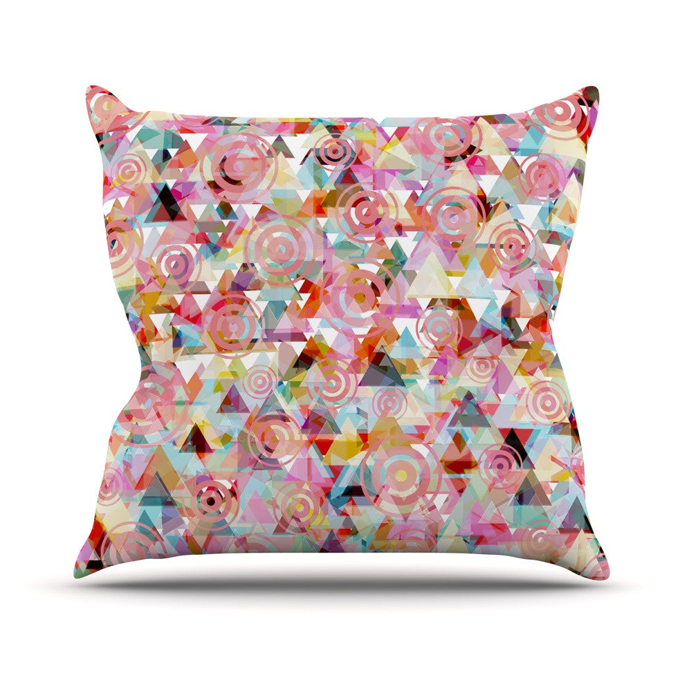"Suzanne Carter ""Geo"" Pink Multicolor Outdoor Throw Pillow - KESS InHouse  - 1"