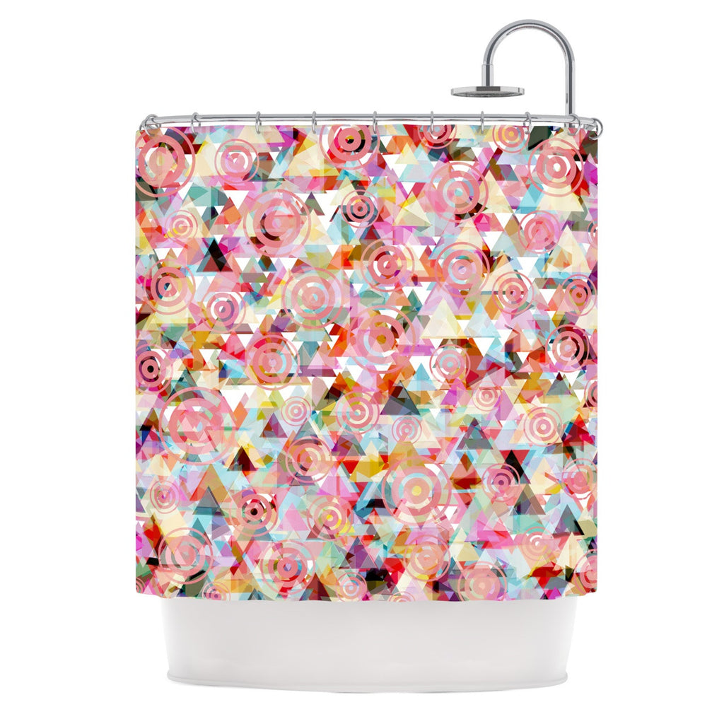 "Suzanne Carter ""Geo"" Pink Multicolor Shower Curtain - KESS InHouse"