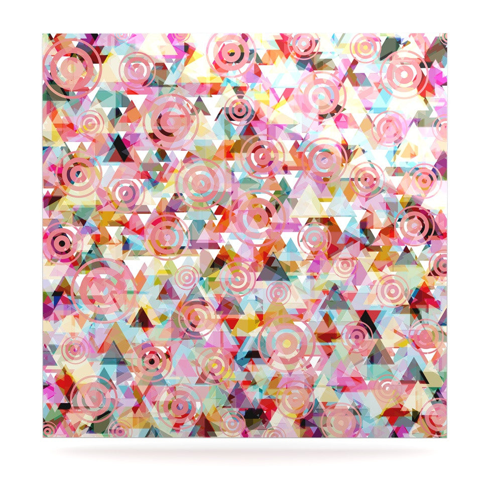 "Suzanne Carter ""Geo"" Pink Multicolor Luxe Square Panel - KESS InHouse  - 1"
