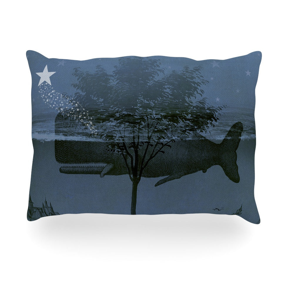 "Suzanne Carter ""Whale Watch"" Blue Illustration Oblong Pillow - KESS InHouse"
