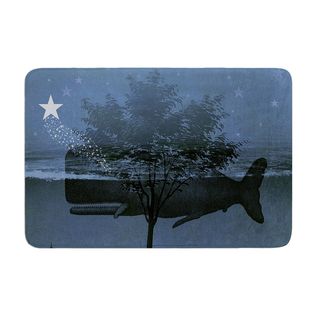 "Suzanne Carter ""Whale Watch"" Blue Illustration Memory Foam Bath Mat - KESS InHouse"