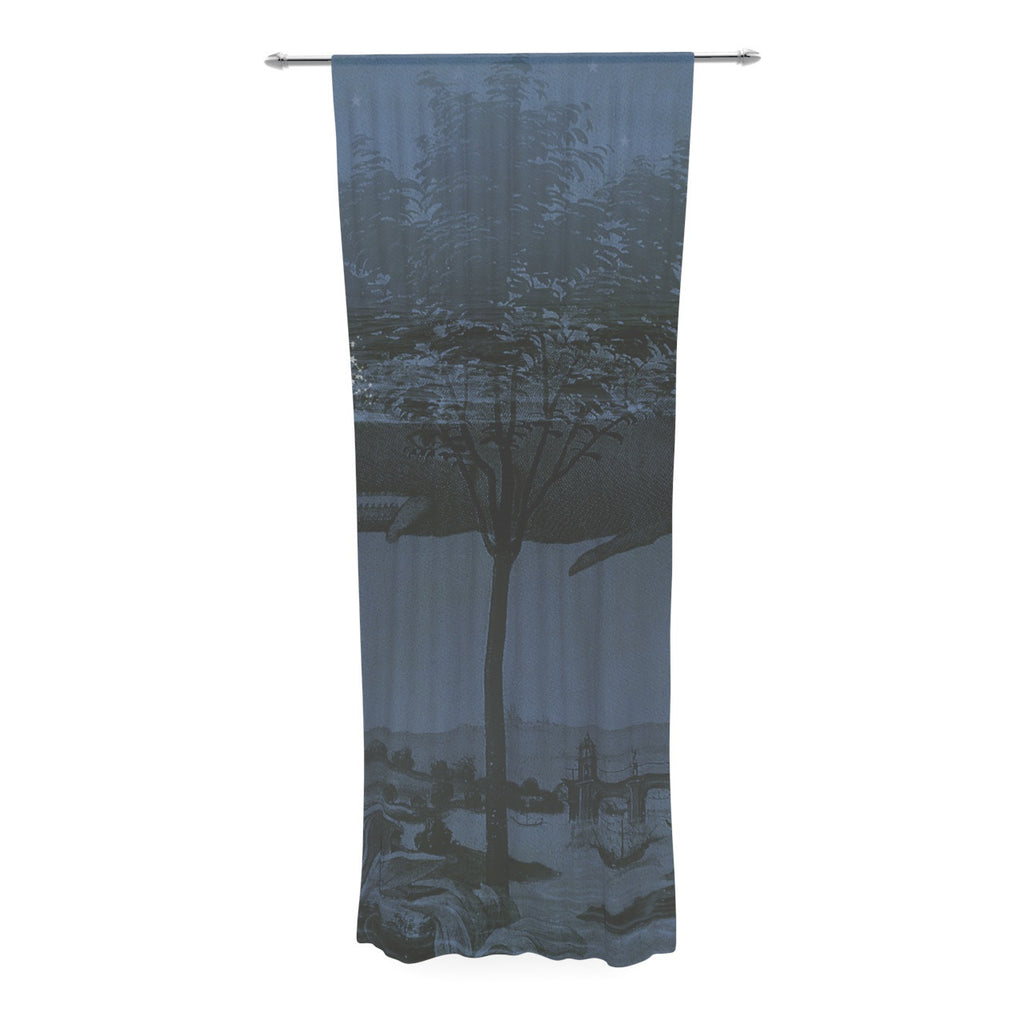 "Suzanne Carter ""Whale Watch"" Blue Illustration Decorative Sheer Curtain - KESS InHouse  - 1"