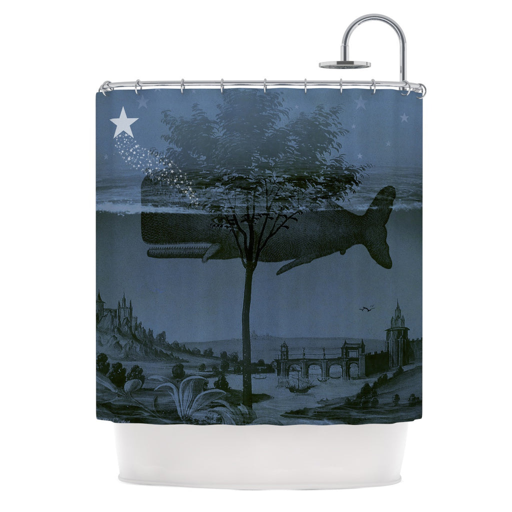 "Suzanne Carter ""Whale Watch"" Blue Illustration Shower Curtain - KESS InHouse"