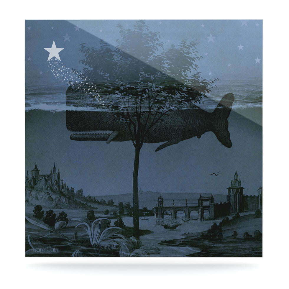 "Suzanne Carter ""Whale Watch"" Blue Illustration Luxe Square Panel - KESS InHouse  - 1"