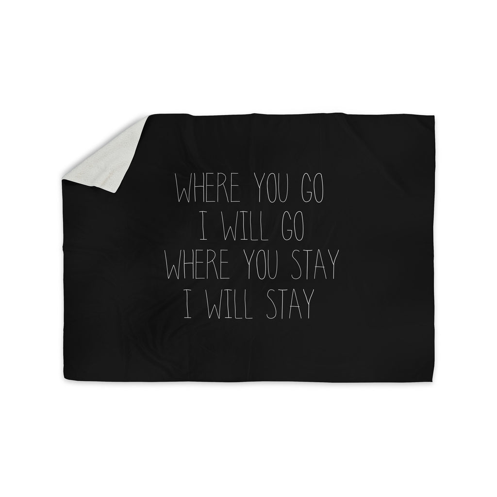 "Suzanne Carter ""Where You Go"" Typography Sherpa Blanket - KESS InHouse  - 1"