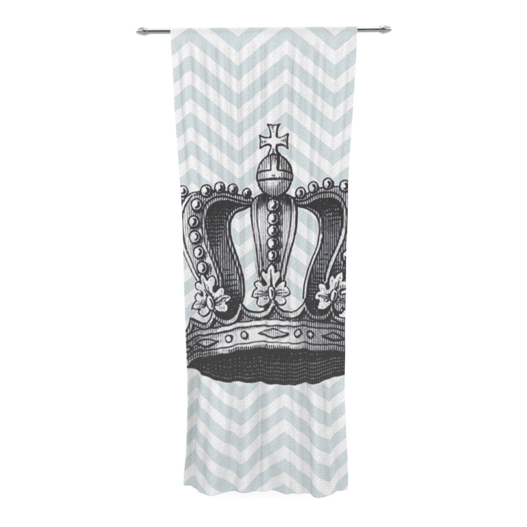 "Suzanne Carter ""Crown"" Blue Black Decorative Sheer Curtain - KESS InHouse  - 1"