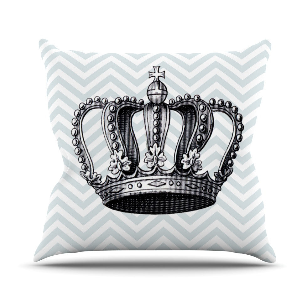 "Suzanne Carter ""Crown"" Blue Black Outdoor Throw Pillow - KESS InHouse  - 1"