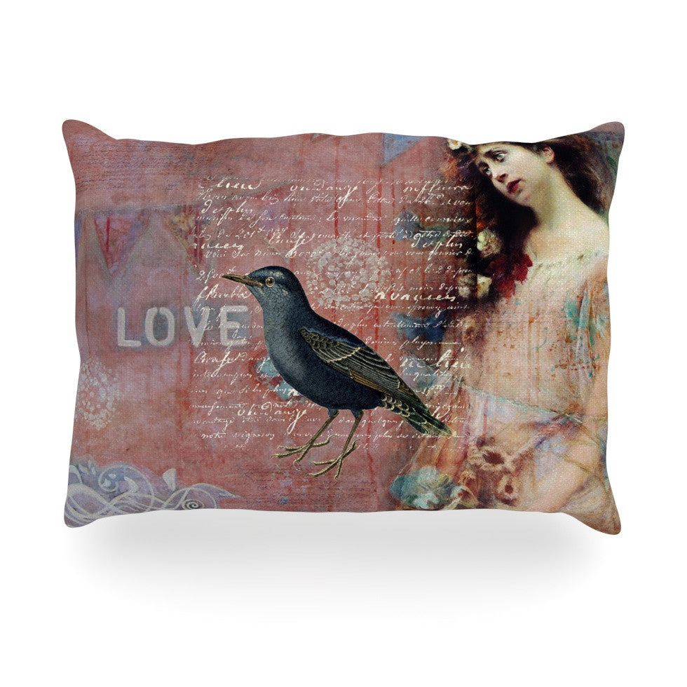 "Suzanne Carter ""Faith Hope Love"" Pink Typography Oblong Pillow - KESS InHouse"
