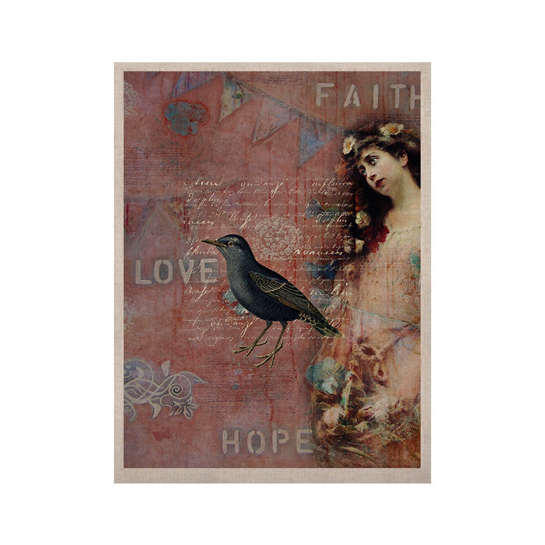 "Suzanne Carter ""Faith Hope Love"" Pink Typography KESS Naturals Canvas (Frame not Included) - KESS InHouse  - 1"