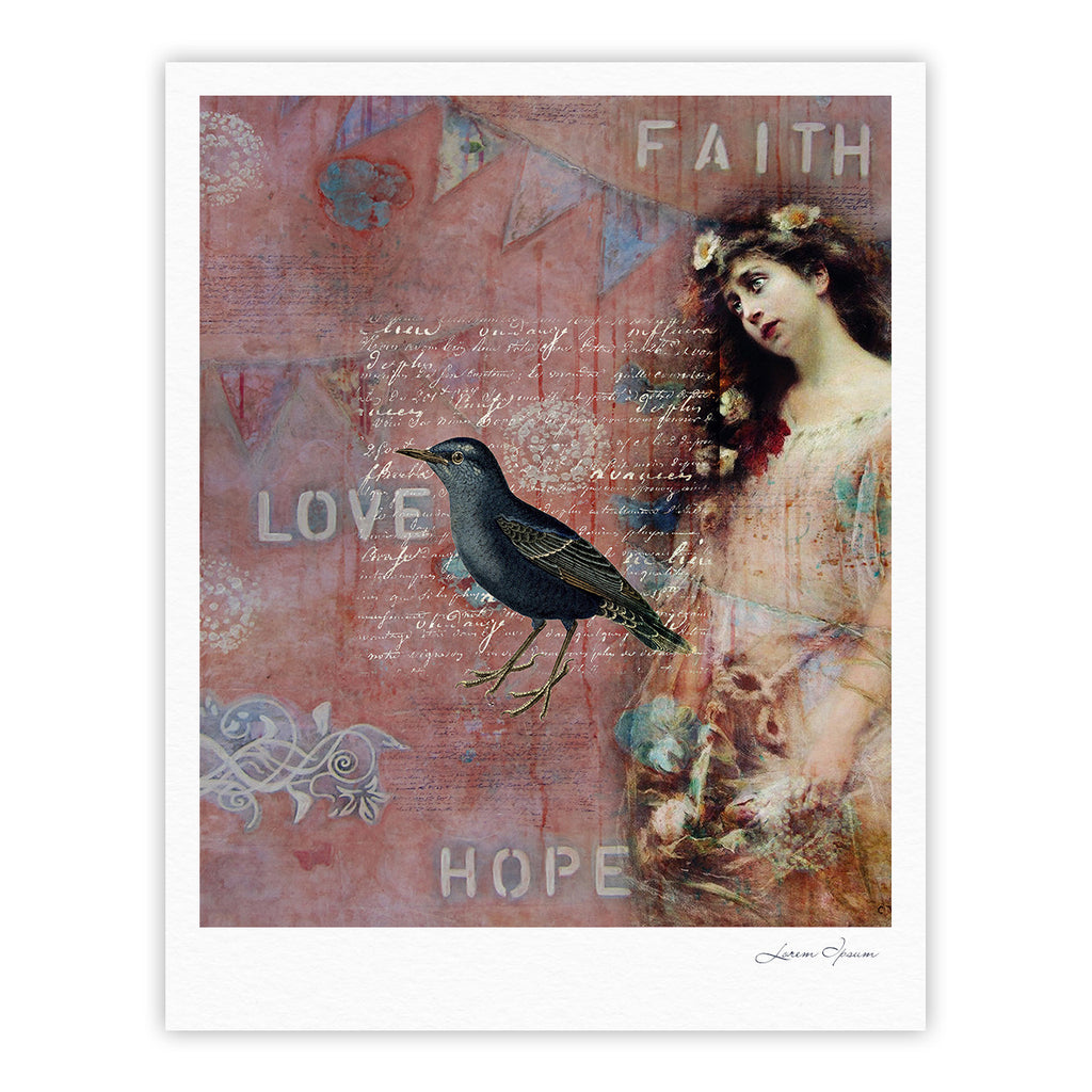 "Suzanne Carter ""Faith Hope Love"" Pink Typography Fine Art Gallery Print - KESS InHouse"