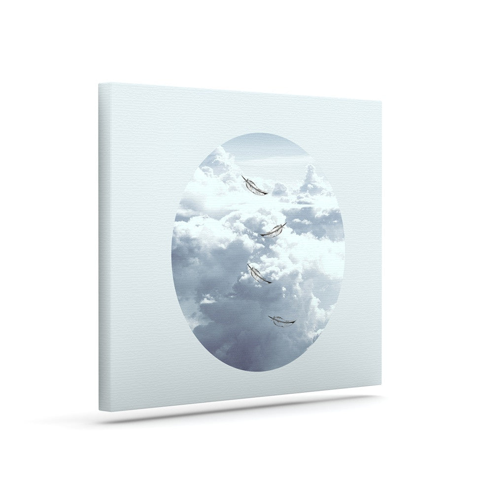 "Suzanne Carter ""Feathers"" White Gray Canvas Art - KESS InHouse  - 1"