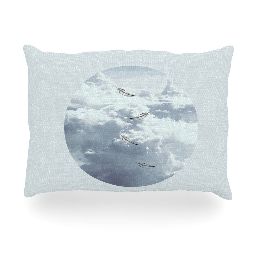 "Suzanne Carter ""Feathers"" White Gray Oblong Pillow - KESS InHouse"