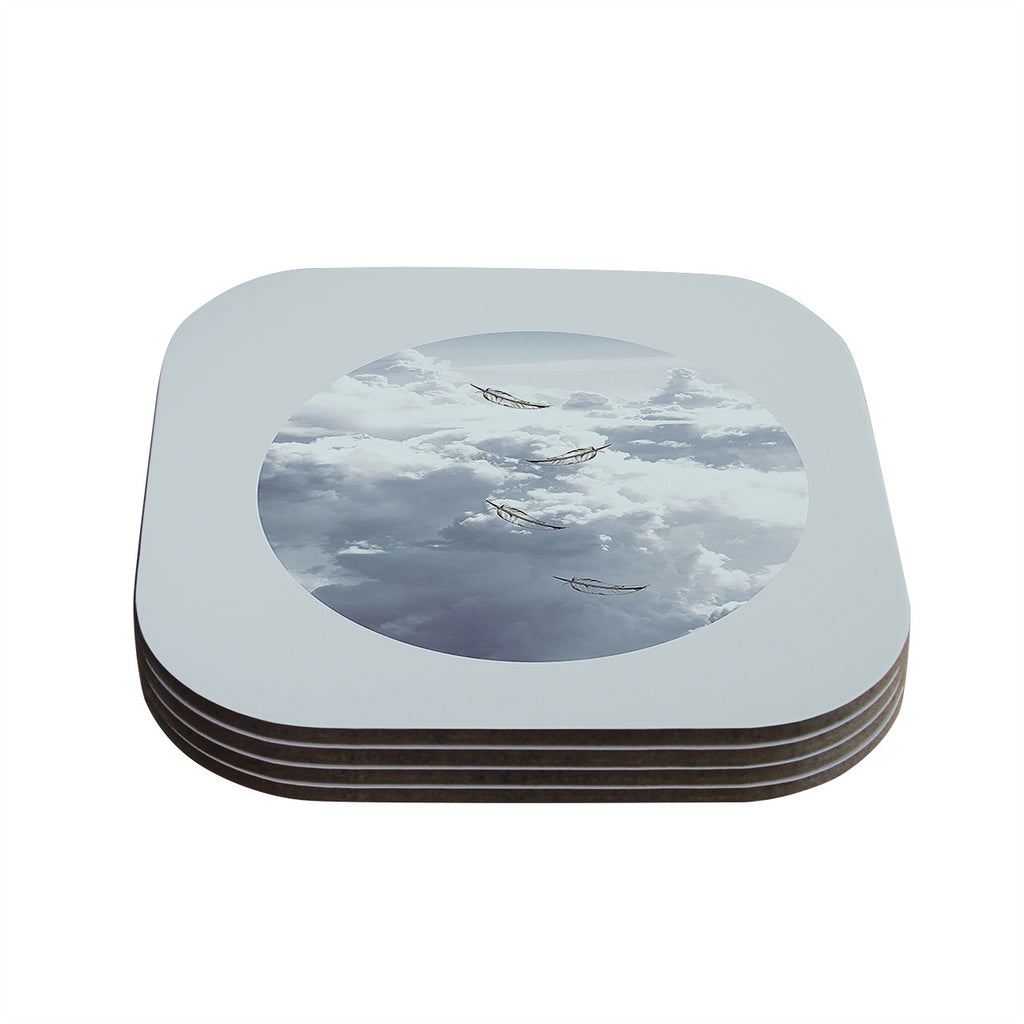 "Suzanne Carter ""Feathers"" White Gray Coasters (Set of 4)"