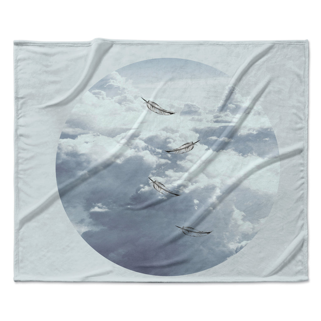 "Suzanne Carter ""Feathers"" White Gray Fleece Throw Blanket"