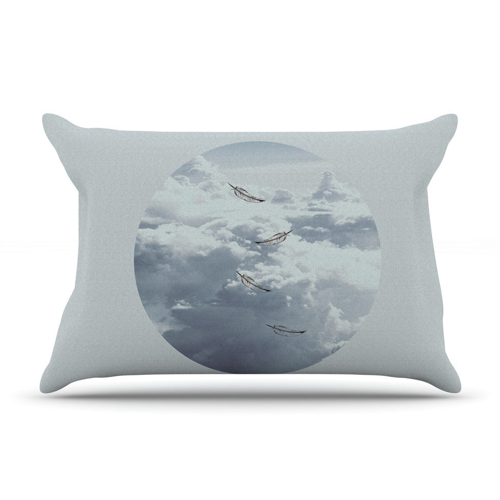 "Suzanne Carter ""Feathers"" White Gray Pillow Sham - KESS InHouse"