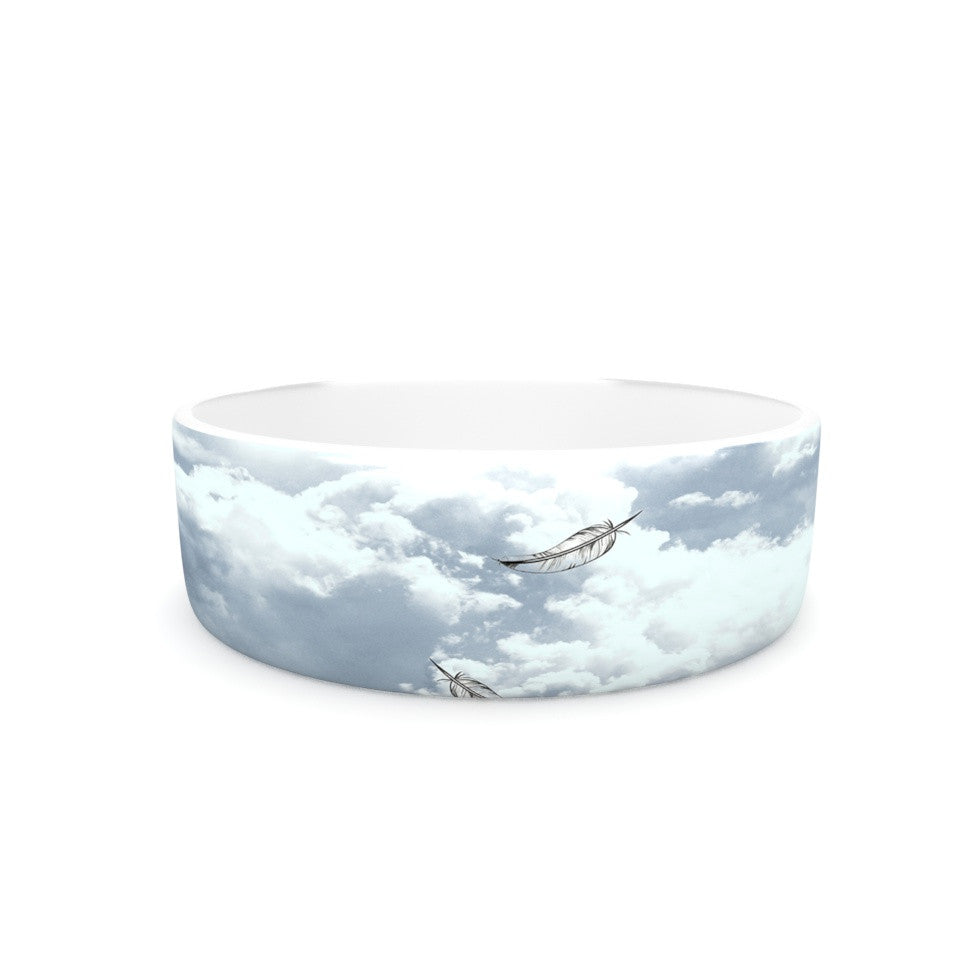 "Suzanne Carter ""Feathers"" White Gray Pet Bowl - KESS InHouse"