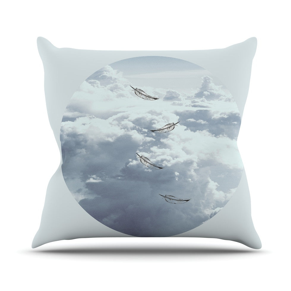 "Suzanne Carter ""Feathers"" White Gray Outdoor Throw Pillow - KESS InHouse  - 1"