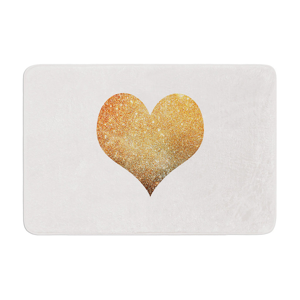 "Suzanne Carter ""Gold Heart"" Glam Memory Foam Bath Mat - KESS InHouse"