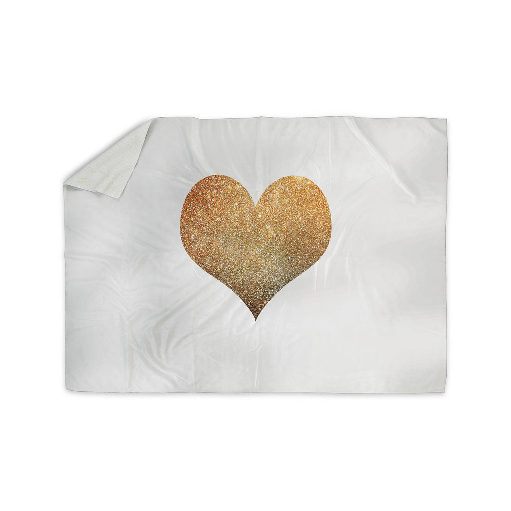 "Suzanne Carter ""Gold Heart"" Glam Sherpa Blanket - KESS InHouse  - 1"
