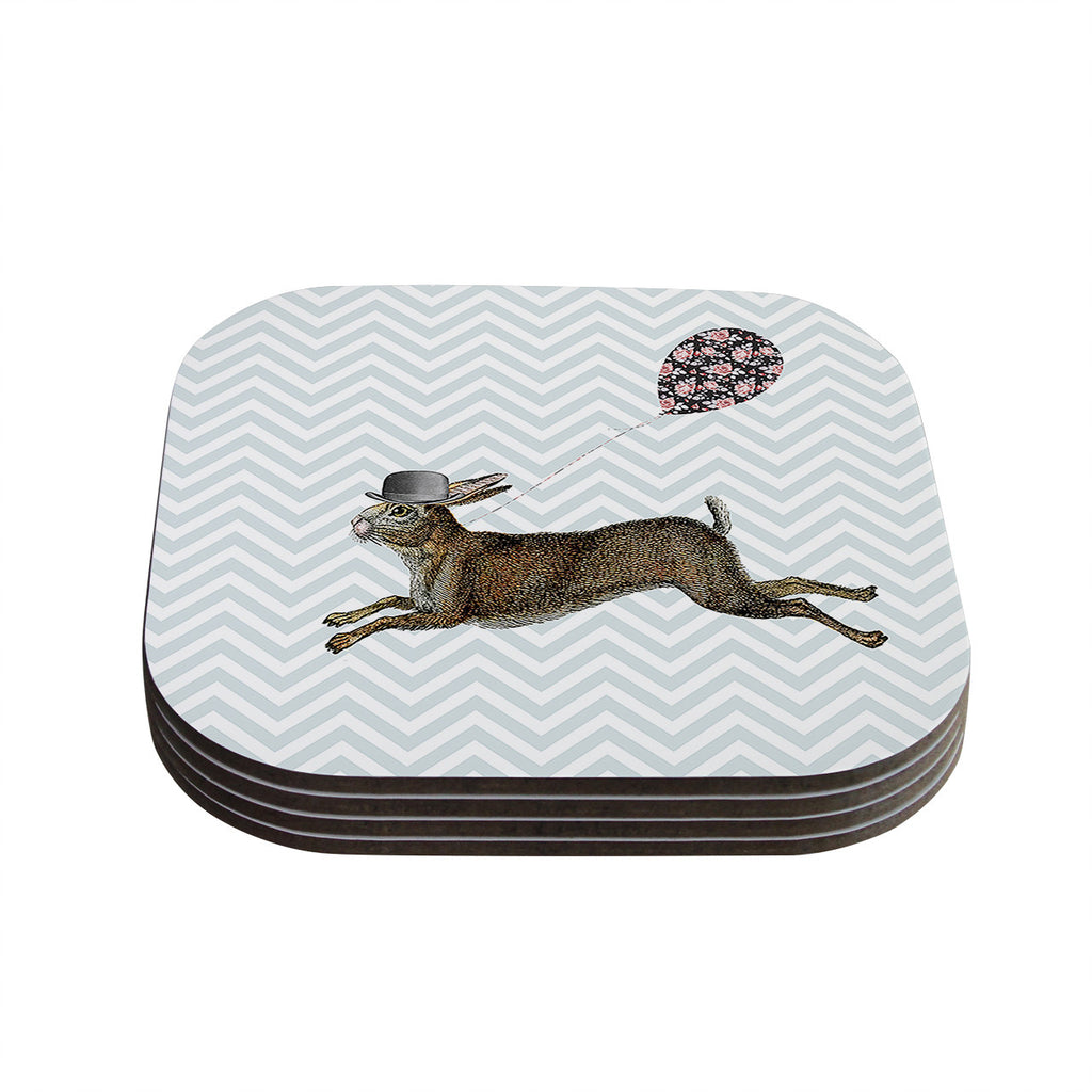 "Suzanne Carter ""Hare Today"" Rabbit Coasters (Set of 4)"