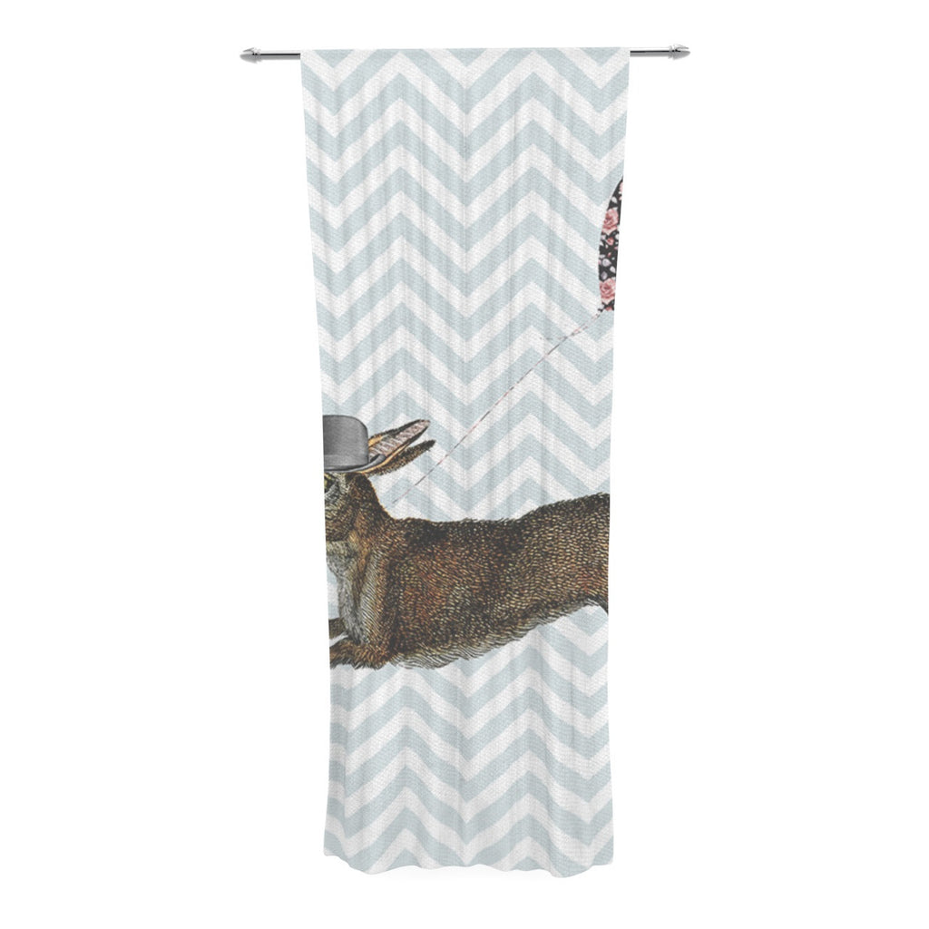 "Suzanne Carter ""Hare Today"" Rabbit Decorative Sheer Curtain - KESS InHouse  - 1"