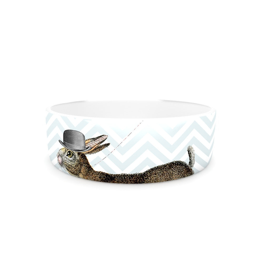 "Suzanne Carter ""Hare Today"" Rabbit Pet Bowl - KESS InHouse"
