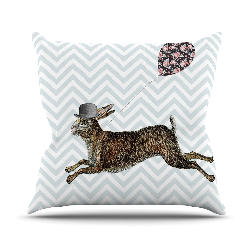 "Suzanne Carter ""Hare Today"" Rabbit Outdoor Throw Pillow - KESS InHouse  - 1"
