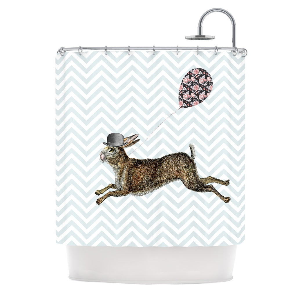 "Suzanne Carter ""Hare Today"" Rabbit Shower Curtain - KESS InHouse"