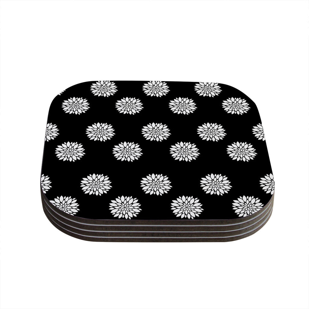 "Suzanne Carter ""Peony Rose"" Black White Coasters (Set of 4)"