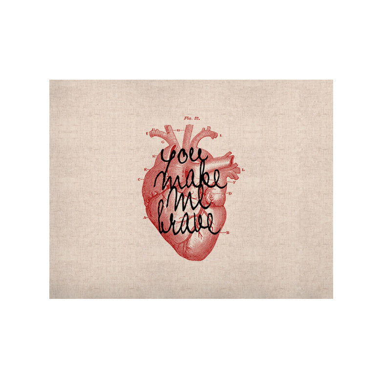 "Suzanne Carter ""Make Me Brave"" White Red KESS Naturals Canvas (Frame not Included) - KESS InHouse  - 1"