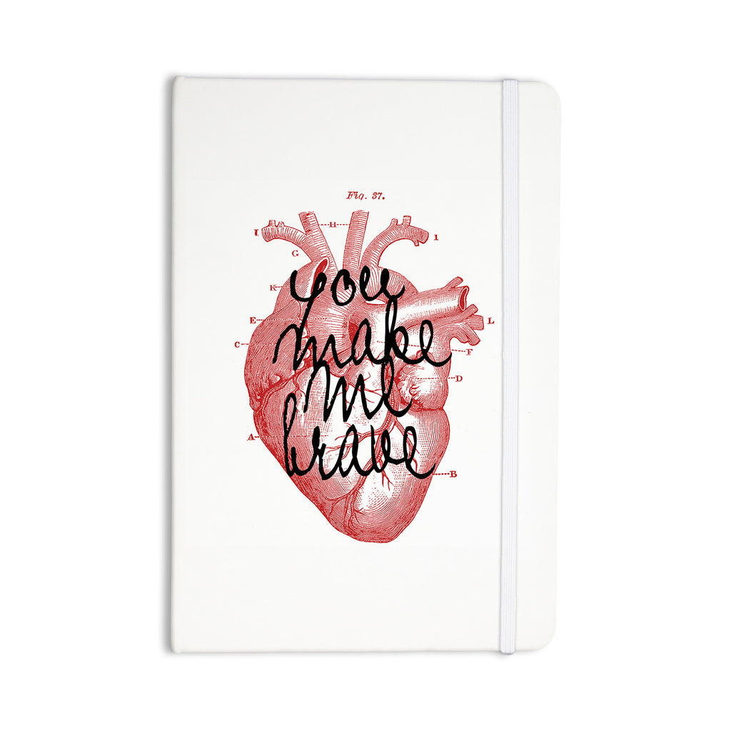 "Suzanne Carter ""Make Me Brave"" White Red Everything Notebook - KESS InHouse  - 1"