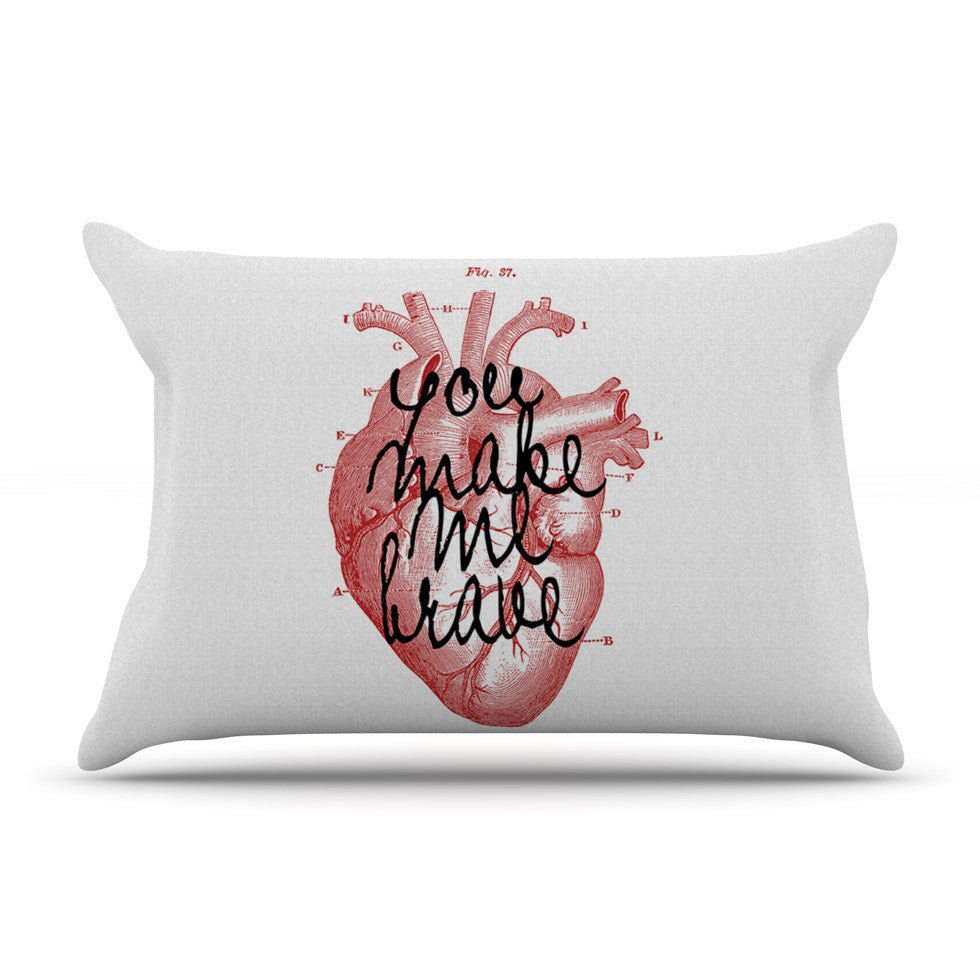 "Suzanne Carter ""Make Me Brave"" White Red Pillow Sham - KESS InHouse"