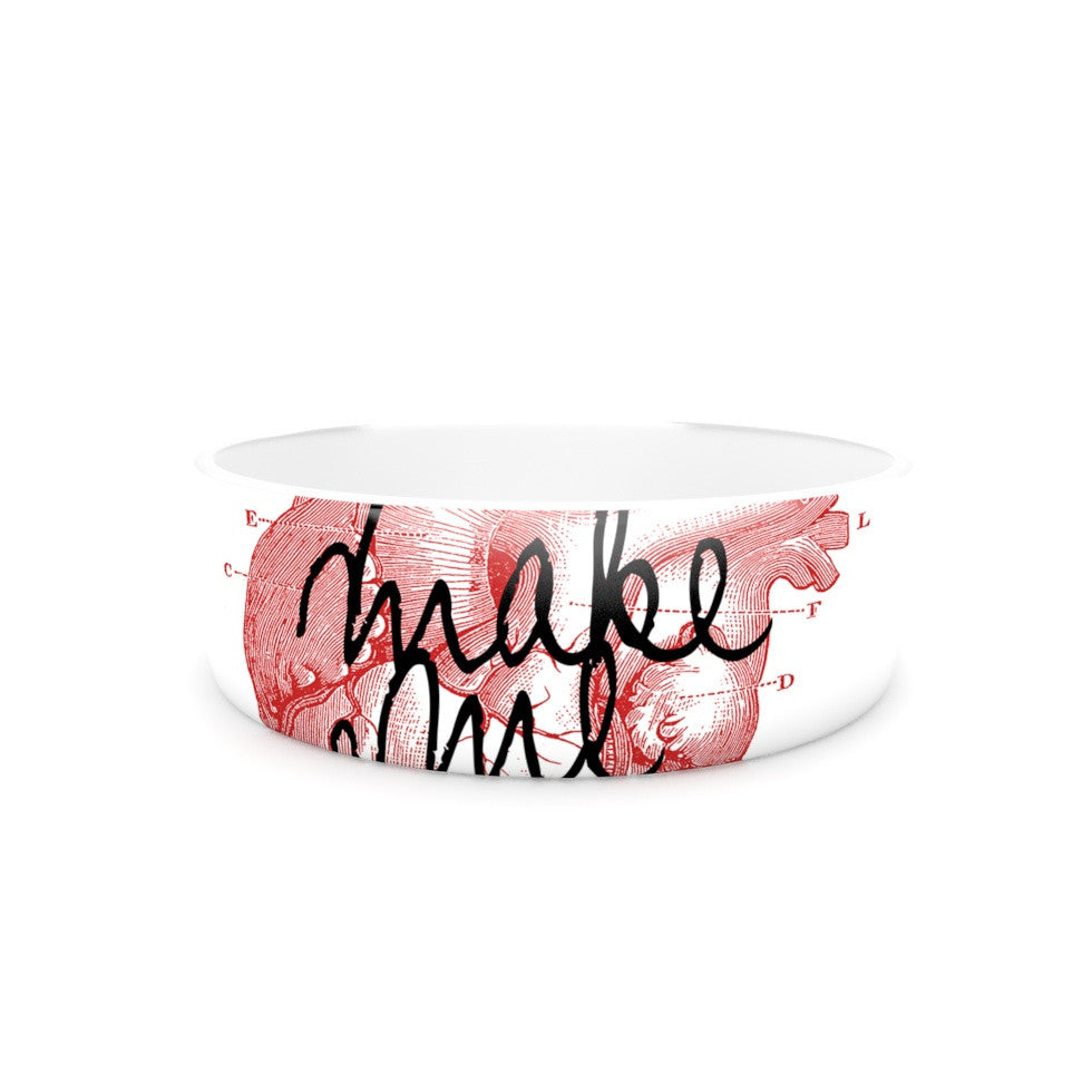 "Suzanne Carter ""Make Me Brave"" White Red Pet Bowl - KESS InHouse"