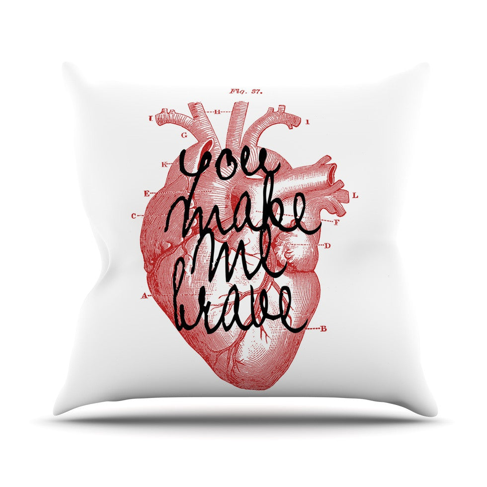 "Suzanne Carter ""Make Me Brave"" White Red Outdoor Throw Pillow - KESS InHouse  - 1"